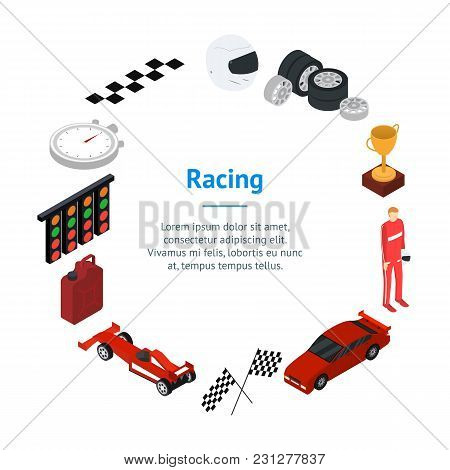 Racing Sport Banner Card Circle Isometric View Element Web Design For Competition And Award. Vector
