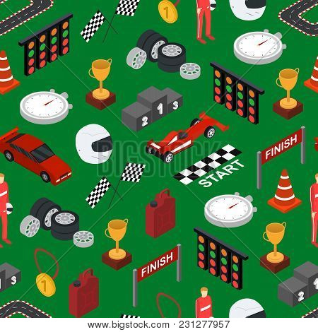 Racing Sport Seamless Pattern Background Isometric View Element Web Design For Competition And Award