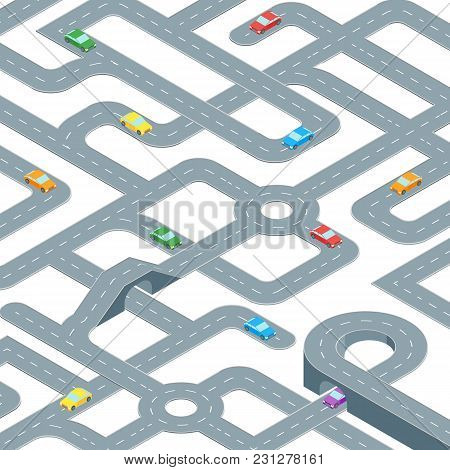 Road Map Design Seamless Pattern Background Isometric View. Element Traffic For Direction Transport