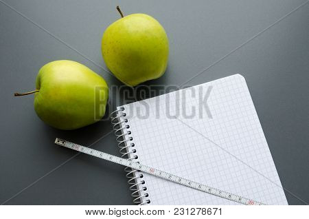 Diet Plan Notebook And Green Apples With Copy Space For Healthy Food Concept