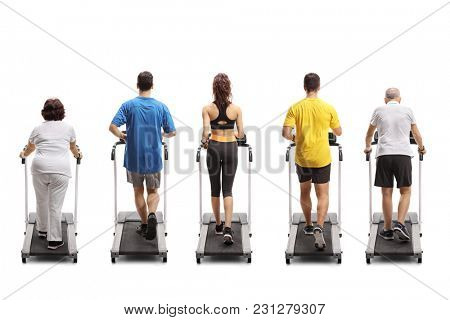 Full length rear view shot of people exercising on treadmills isolated on white background