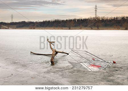 Tree Branch And Shopping Cart In Frozen Water, Neue Donau Vienna Austria