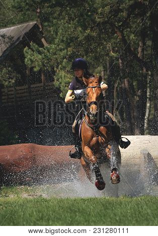 Bialy Bor, West Pomeranian / Poland - 2013: International Triathlon Of Horses - Horse And Rider In C