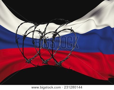 Flag Of The Russian Federation In Barbed Wire On A Black Background, Sanctions And Aggression Of Rus