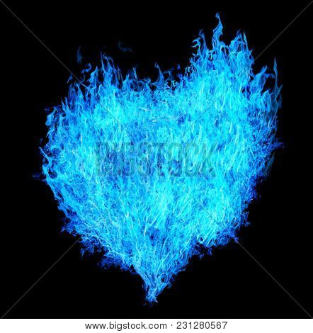 blue heart shape flame isolated on white background