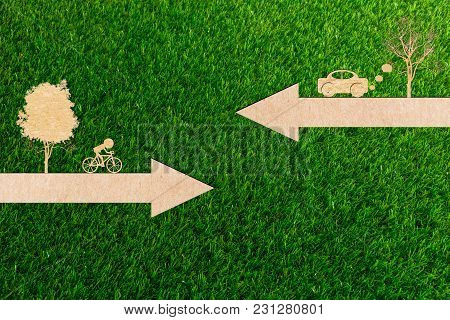 Ecology Concept Go Green Environment Of Paper Cut Clean Energy Bicycles And Cars Are Polluting