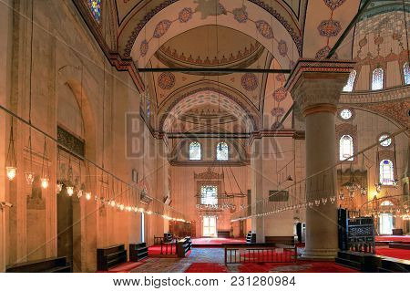 Istanbul, Turkey - March 29, 2012: The Interior Of Bayazid Mosque.