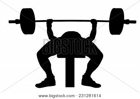 Competition Male Athlete Powerlifter Bench Press Black Silhouette