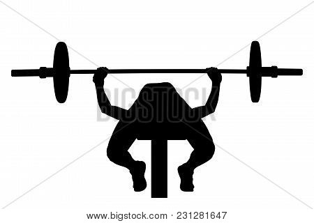 Female Athlete Bench Press Powerlifting Competition Black Silhouette