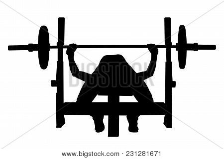Female Athlete Powerlifter Bench Press Black Silhouette