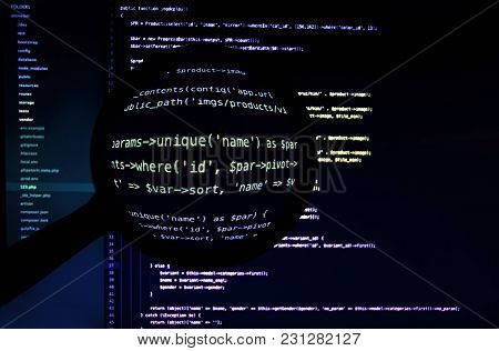 Concept Of Hacking, Looking For Backdoors, Php Code Under Magnifier