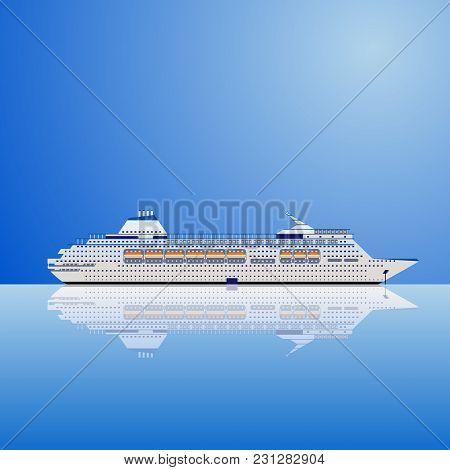 White Modern Transatlantic Cruise Liner Ship On A Blue Background. Realistic Vector Illustration.