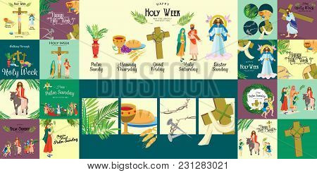 Set For Christianity Holy Week Before Easter, Lent And Palm Or Passion Sunday, Good Friday Crucifixi