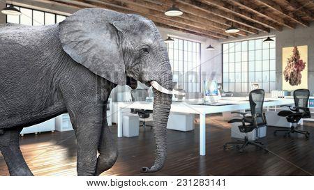 Elephant in modern industrial office 3d rendering image