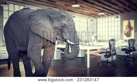 elephant in the room, modern industrial office 3d rendering image
