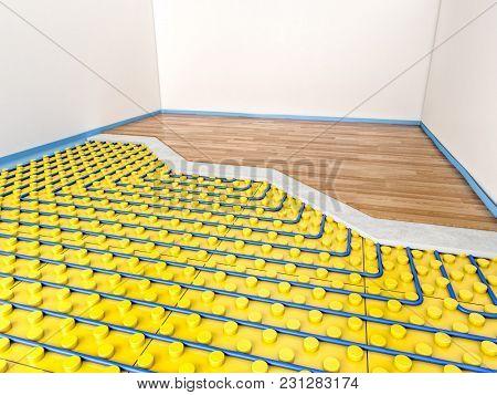 floor heater panel detail 3d rendering image