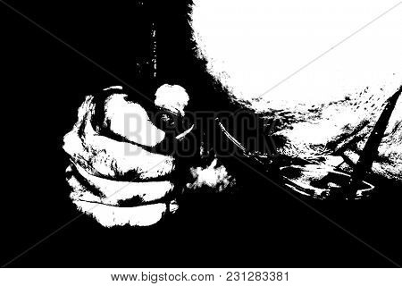 Surreal black and white painting. Man's fist. 3D rendering