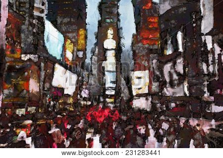 Abstract modern painting. Times Square. 3D rendering