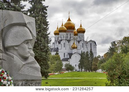 Yaroslavl, Russia - September 8, 2016: Assumption Cathedral And The War Memorial In Yaroslavl, Russi