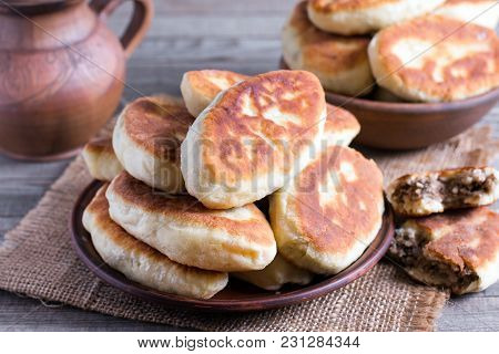 Patties With Potatoes And Meat. Traditional Russian Food, Rustic Style