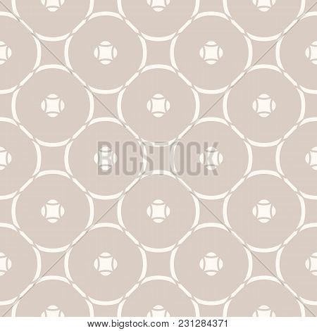 Subtle Vector Geometric Seamless Pattern With Thin Circular Grid. Simple Modern Abstract Background.