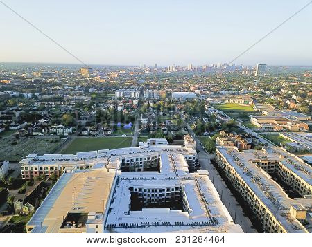 Aerial View Fourth Ward District West Of Downtown Houston, Texas