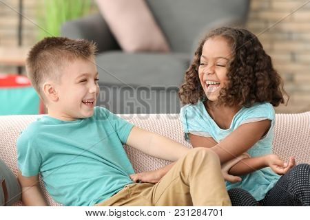Cute children playing indoors. Child adoption