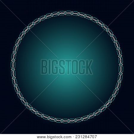 Glowing Gothic Frame. Celtic Style. Blue And Light Blue Glowing Background For Your Ancient Design