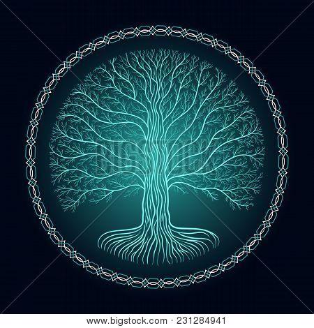 Druidic Yggdrasil Tree, Round Dark Gothic Logo. Ancient Book Style.