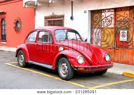 Oaxaca, Mexico - May 25, 2017: Motor Car Volkswagen Beetle In The City Street.