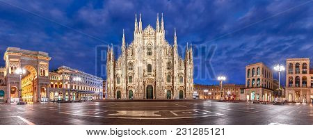 Panoramic View Of Piazza Del Duomo, Cathedral Square, With Milan Cathedral Or Duomo Di Milano, Galle