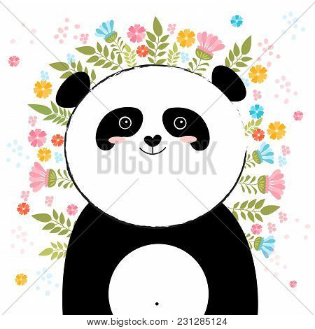 Vector Cartoon Sketch Panda Illustration With Spring And Summer Flowers