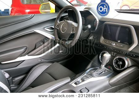 Acapulco, Mexico - May 28, 2017: Interior Of The Modern Muscle Car Chevrolet Camaro.