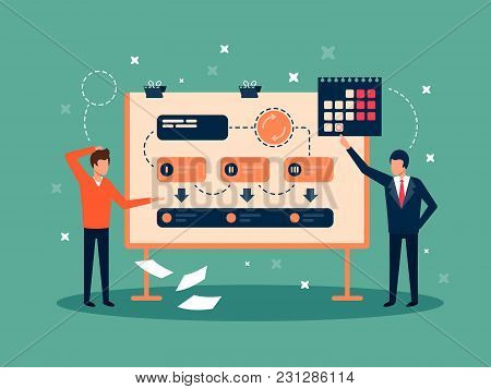 Development Team Planning Project. Idea And Implementation. Vector Flat Illustration