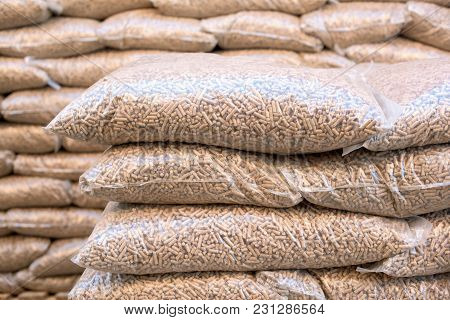 Pile Of Sacks Ful With Wooden Pellets