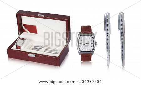 Elegant And Designer Wrist Watch With Leather Straps And Two Silver Ballpoint Pen Set In A Beautiful