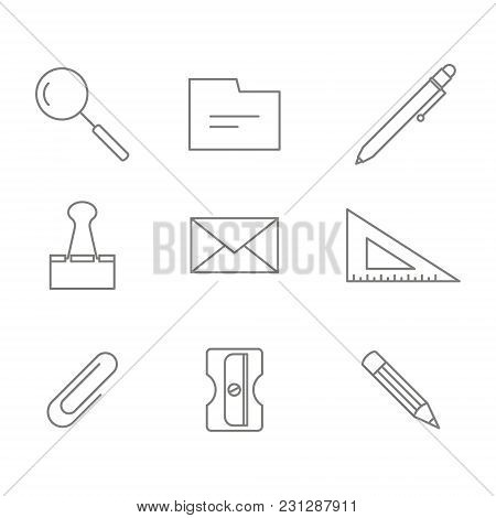 Monochrome Set With Office Stationery Icons For Your Design