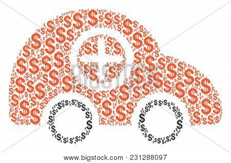 Ambulance Car Collage Of Dollar Symbols. Vector Dollar Currency Pictograms Are Combined Into Ambulan