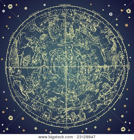Vintage zodiac constellation of northern stars.