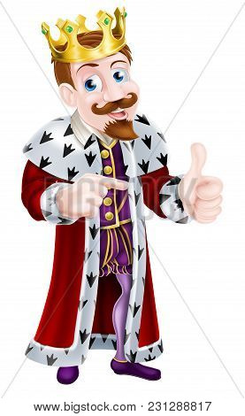 Cartoon King Character Wearing A Crown Giving A Thumbs Up With One Hand And Pointing With The Other