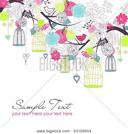 Floral summer background. Birds out of their cages. Freedom  concept vector