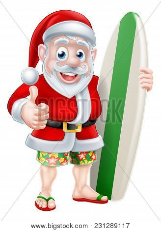 Cartoon Of Surfing Santa Claus Holding A Surf Board And Giving A Thumbs Up In His Hawaiian Board Sho