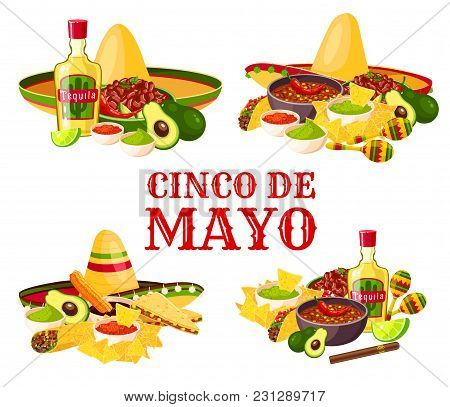 Cinco De Mayo Holiday Icon Set With Fiesta Party Food And Drink. Mexican Festival Sombrero With Chil