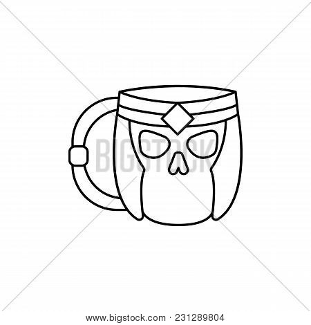 Skeleton Mug Icon. Outline Skeleton Mug Vector Icon For Web Design Isolated On White Background