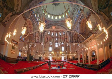 Istanbul, Turkey - March 29, 2012: The Interior Of The Bayazid Mosque.