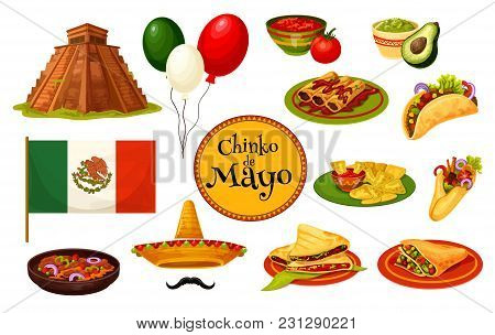 Cinco De Mayo Mexican Holiday Traditional Symbol With Festive Food And Flag. Latin American Fiesta P