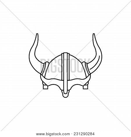 Viking Helmet Icon. Outline Viking Helmet Vector Icon For Web Design Isolated On White Background