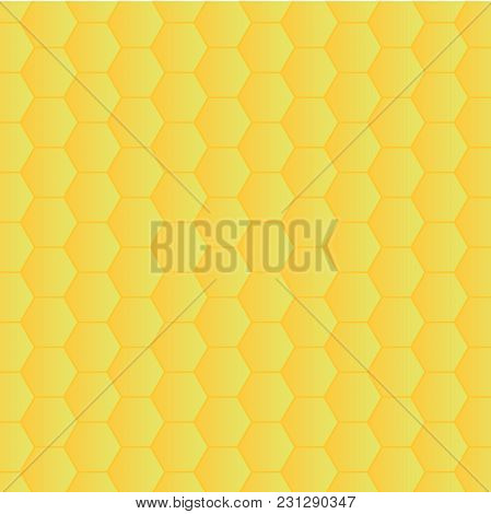 Geometric Vector Texture A Background Of Yellow Hexagons. A Simple Variant Of Styling Bee Honeycombs