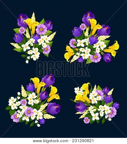 Flower Bouquet Icon For Floral Greeting Card Design. Blooming Flower Of Crocus, Calla Lily And Jasmi