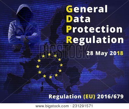 Gdpr - General Data Protection Regulation. Eu Flag Star And Map And Data Protection Officer.